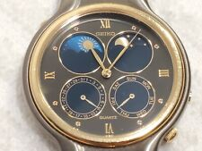 Vintage Seiko Double Moon Sun Phase Watch Day Date Roman Numerals 3 Jewels Women