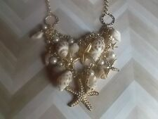 N040 Nautical Natural Chic White Pearl Seashell Starfish Charm Necklace *30+