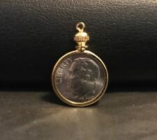 Holder for Dime USA / 10 cent Coin Bezel Gold-Tone charm, necklace, pendant