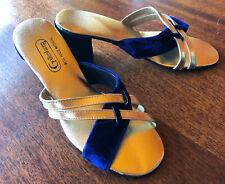 Vintage Gallenkamp Women's Shoes Metallic Gold & Blue Velvet Sandals 6M