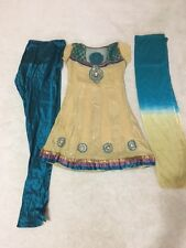 Women Anarkali salwar Kameez Dress Kurti Pants Scarf 3 pcs Beige & Turquoise 2