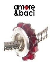 AMORE & BACI 925 silver & Swarovski crystal SIAM RED SPACER charm bead RRP £29