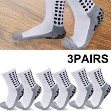 3 Pairs Sport Socks Anti Slip W/Grip Soccer Men Football Basketball Sock White