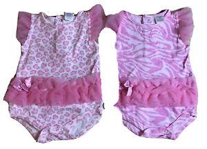 2 Girls Baby 3/6mo Pink Tutu Zebra & Leopard Dressy Bodysuits White