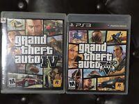 GTA 4 And GTA 5 (Sony Playstation 3) (Grand Theft Auto) Mint + Free Shipping