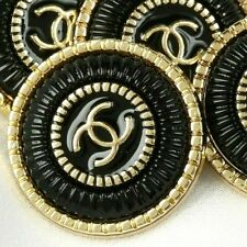 New listing Chanel Buttons 4pc Cc Black 19 mm Vintage Style Unstamped 4 ButtonsAuth!
