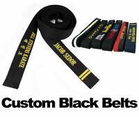 Martial Arts Black Belt Embroidered Custom Belts Karate Taekwondo Jiu jitsu Judo