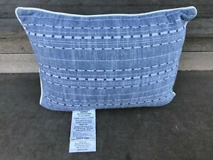 NAUTICA Throw Pillow Blue White Striped Textured Rectangle Bed Couch Decor NEW