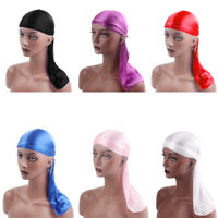 Men Women Satin Bandana Turban Lace Pirate Cap Durag Headwear Hat Headband
