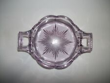 "Vintage KRYSTOL Lavender 2 Handle Candy Dish 5 1/4"" Bowl w Scalloped Sides"