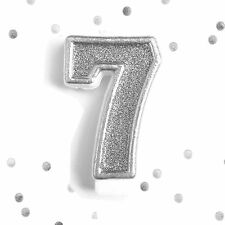 Silver Glitter 7th Birthday Candle Number 7 Silver Seven Number Cake Topper