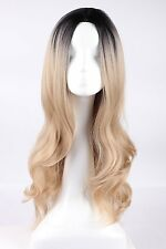 Women Lady Full Hair Long Wavy Curly Blonde Ombre Synthetic Cosplay Party Wig