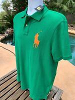 POLO RALPH LAUREN Mens Mesh Big Pony Polo Shirt - Green 2XL NEW