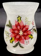 New Yankee Candle Frosted Poinsettia Crackle Glass Large Jar Holder