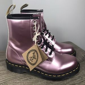 NEW Dr Martens 1460 Metallic Pink Vegan Boots Womens Size 7 Lace Up Combat Shine