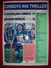 Le North Queensland cowboys 17 BRONCOS 16 - 2015 LNR grand final-souvenir imprimer