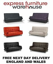 BRAND NEW VENICE CLICK CLACK SOFA BEDS BLACK,GREY,PLUM,BROWN,RED AND LINEN