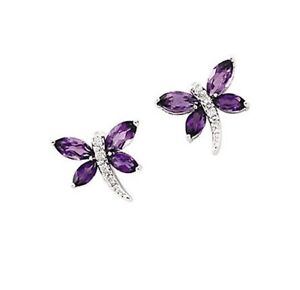 Dragonfly Amethyst and Diamond Earrings Genuine 14K White Gold