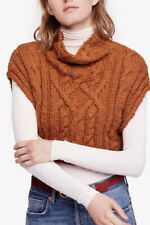 NWT FREE PEOPLE Brown Twisted Cable Knit Cropped Cowl Neck Relaxed Sweater XS