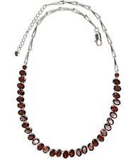 Garnet Oval Gemstone Sterling Silver Necklace