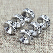 25 pcs 6 mm / 8 mm Clear Crystal Rhinestone Rondelle Spacer Beads Silver