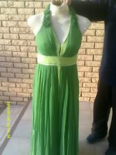 LADIES GREEN SILK HALTERNECK DRESS SIZE  10
