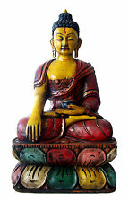 "16"" SITTING BUDDHA STATUE GAUTAMA SHAKYAMUNI BUDDHA WOODEN BUDDHA STATUE #03"