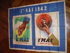 TRES GRANDE AFFICHE SIGNEE ROLAND HUGON 1ER MAI 1942 155 X 118 CENTIMETRES
