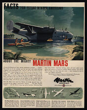 1944 WWII - MARTIN MARS Floating Airplane - Navy -  VINTAGE AD