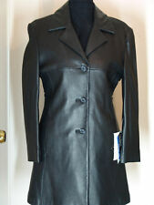 Tibor size  S  Black fitted  33'' leather coat