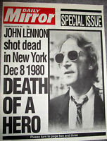 1980 JOHN LENNON Dies Newspaper Vintage Legend Special Issue Pop Music Rock 80s