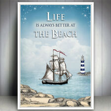 SEASIDE SHIP BEACH SEA OCEAN LIGHTHOUSE QUOTE PRINT PICTURE VINTAGE POSTER ART