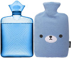 Samply Transparent Hot Water Bottle- 2 Liter Water Bag with Cute Fleece Cover, B