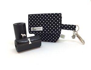 Poo Bag, Black Polka Dot, Dog Treat Bag / Dog Poo Bag Carrier, Spotty