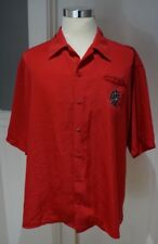 7 Diamonds Red Embroidered Asian Character Button Up Shirt Rockabilly XXL