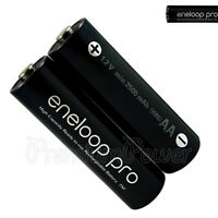 2 x Panasonic Eneloop PRO AA batteries Rechargeable 2500mAh Ni-MH High capacity