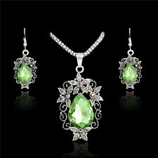 Vintage Style Tibet Silver Green Crystal  Necklace And Earrings Set