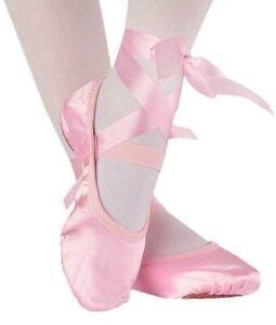 Ballet Shoes Satin Ballet Dance shoes Split sole kids Adults Sizes Lace style