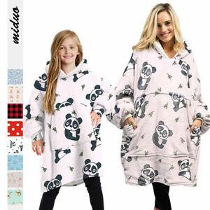Winter Soft Oodie Adult Kid Comfy Nightwear Fleece Blanket Hoodie Hoody Pullover