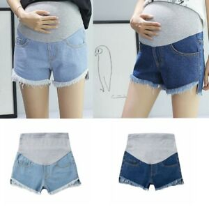 Pregnant Women Denim Shorts Straps Support Belly Short Pants Casual Jeans Bottom