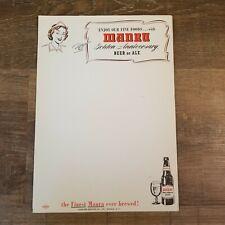 Lot of 10 Vintage Manru Beer Menu Sheets Schreiber Brewing Co. Buffalo N.Y.