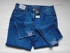 BNWT £32 NEXT Relaxed high rise mid denim blue raw cut ankle jeans UK 14 XL Long
