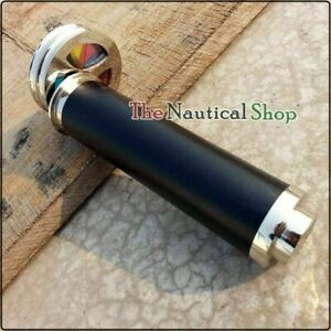 Antique Brass Kaleidoscope Double Wheel Leather Wrapped Telescope Nickel Finish
