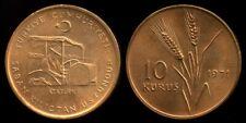 Turkey 10 Kurush 1971, Bronze Coin, UNC, , KM 898.1, Ataturk Driving Tractor