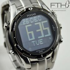 Pulsar w861 series LCD digital mens watch in stainless steel