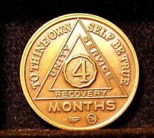 Alcohólicos Anónimos AA 4 meses Medallón De Bronce Moneda Token Chip sobriedad sobrio