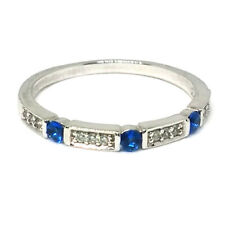 925 Sterling Silver & Sapphire Blue Cubic Zirconia CZ Eternity Ring Size R/9