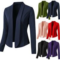 Womens Blazer Tops Solid Long Sleeve Jacket Ladies Office Wear Cardigan Coats