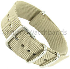 22mm Milano Nylon Fabric Canvas Khaki Beige Tan Military Army Watch Band Strap