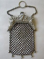 Antique Victorian Art Nouveau Woman Silver T Chatelaine Chain Mail Coin Purse